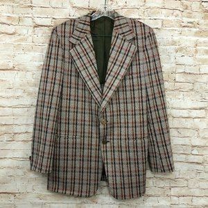 Vintage Plaid Suit Jacket Blazer Coat Montgomery
